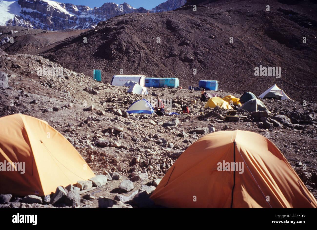 Aconcagua Base Camp, Plaza de Mulas, Argentina Stock Photo