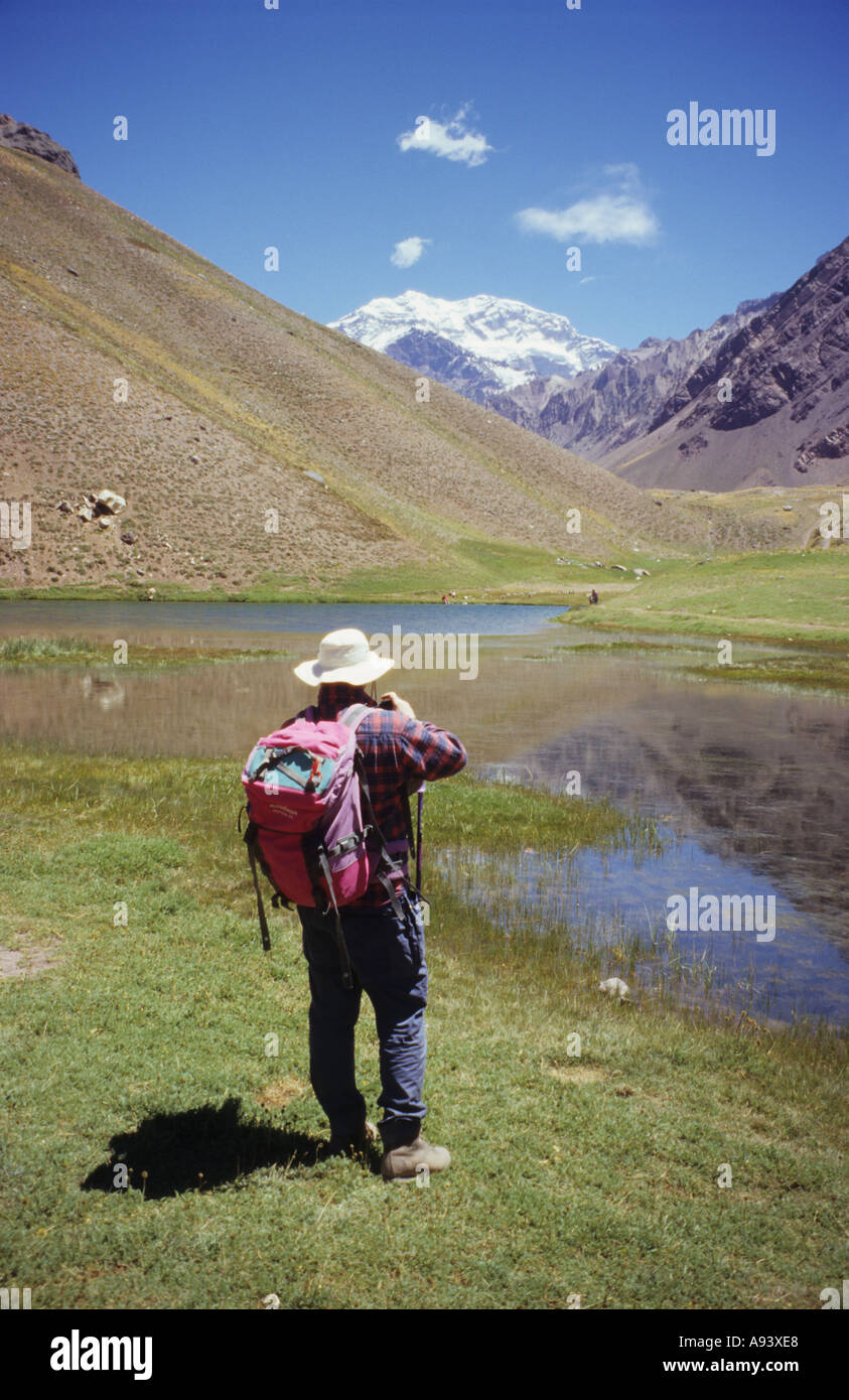 Trekking to Aconcagua Base Camp, Andes mountains, Argentina Stock Photo