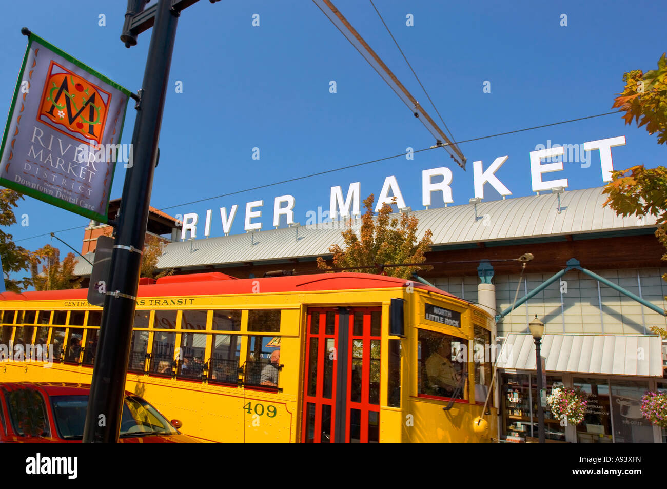 Trolley in River Market District popular tourist area in Little Rock Arkansas - Stock Image