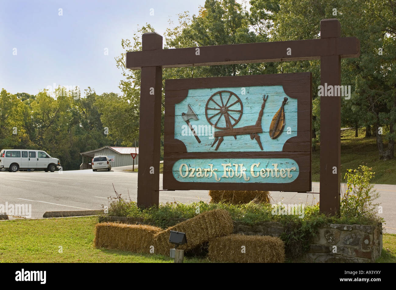 Sign for the Ozark Folk Center State Park in Mountain View AR - Stock Image