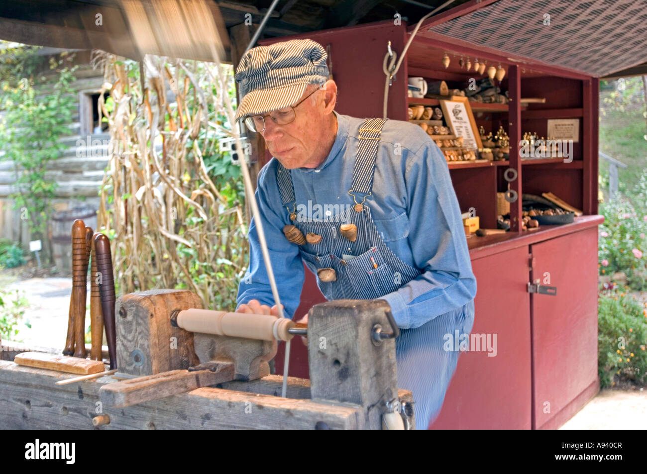 Woodworker in the Crafts Village at the Ozark Folk Center State Park in Mountain View AR - Stock Image
