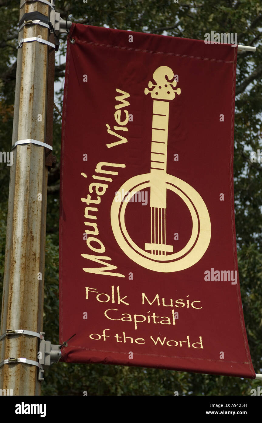 Sign for Mountain View AR Folk Music Capital of the World - Stock Image