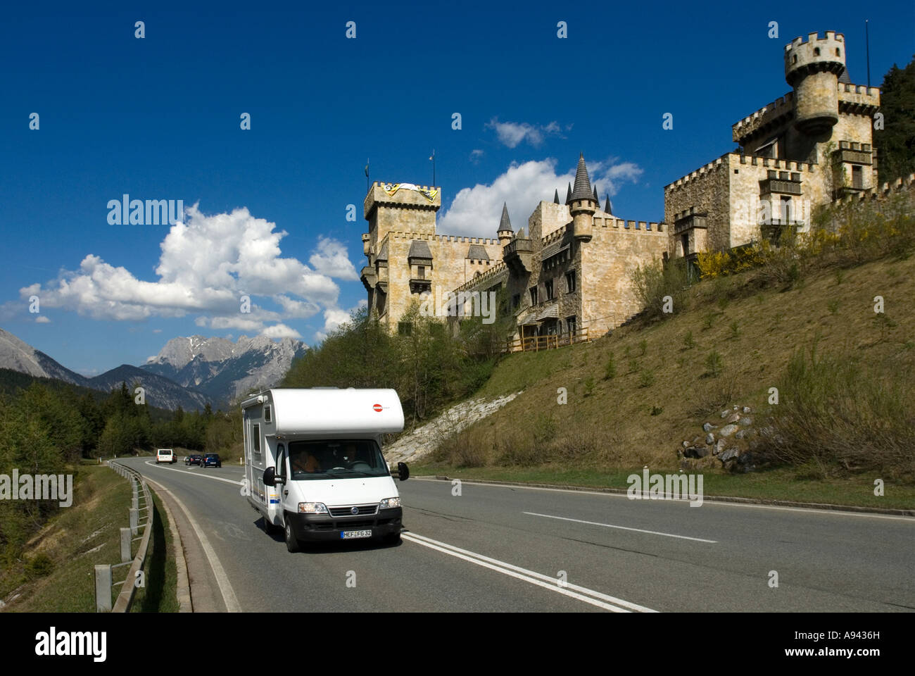 tourist attraction Playcastle Seefeld Tyrol Austria and Motorhome - Stock Image