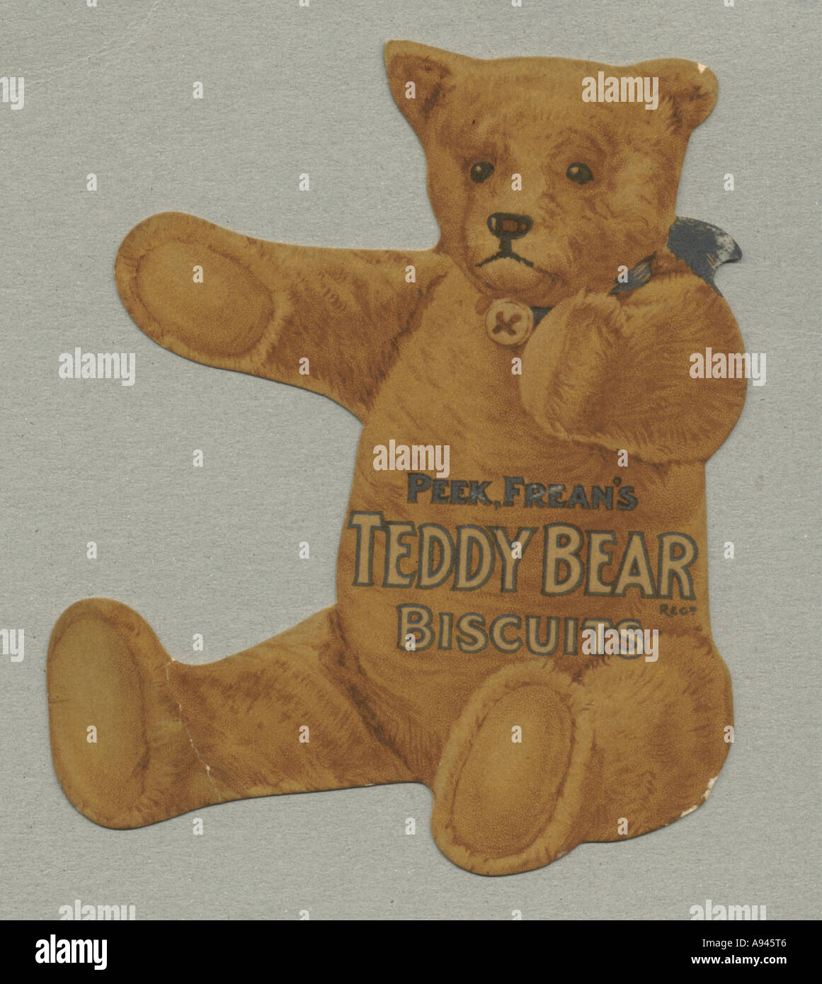 Die cut advertisement for Peek Frean's Teddy Bear Biscuits circa 1905 Stock Photo