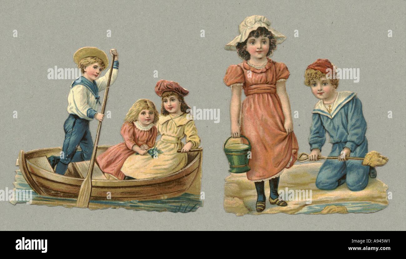 Die cut scraps of children at the seaside circa 1880 - Stock Image