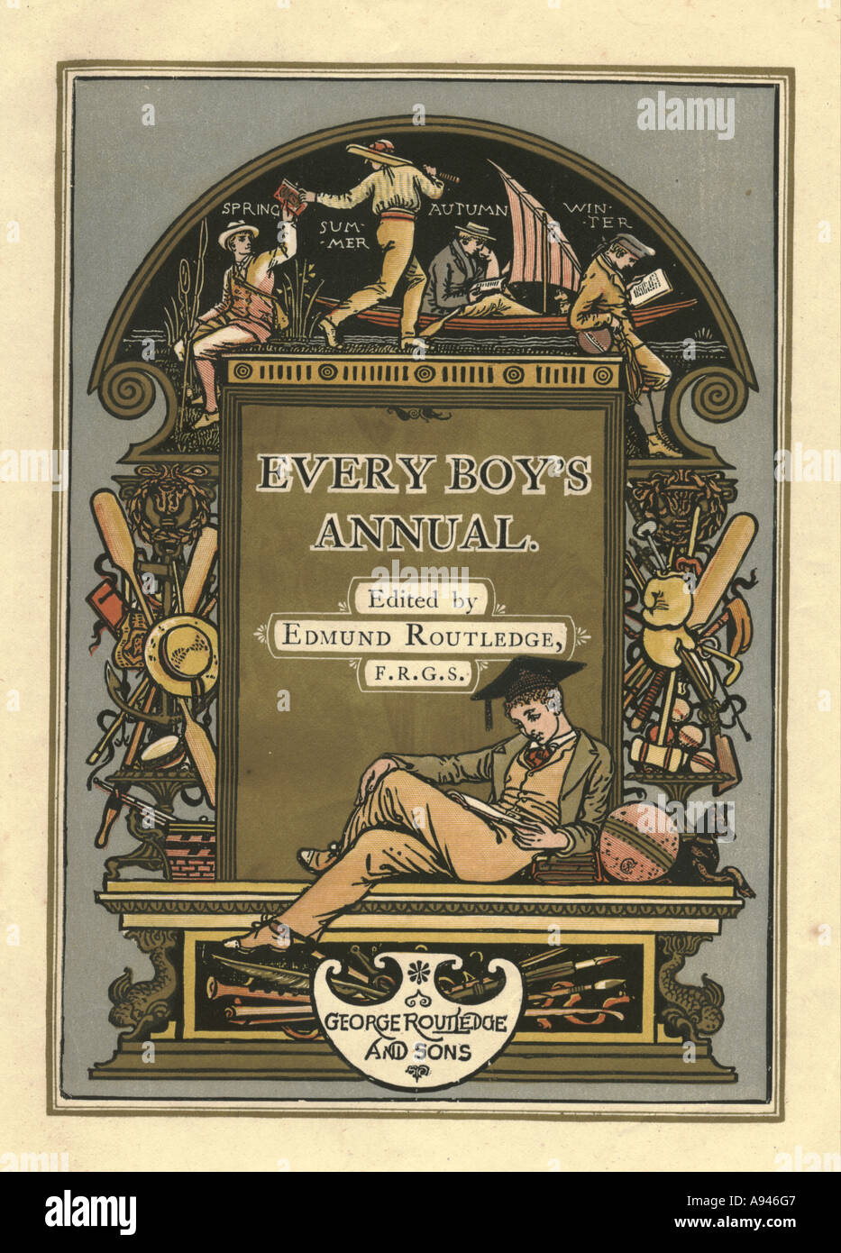 Every Boy's Annual frontispiece 1862-4 designed by Walter Crane - Stock Image