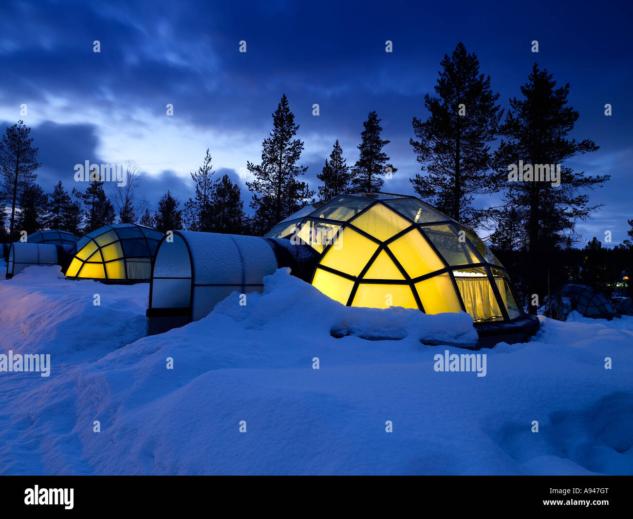 Glass Igloo, night at Hotel and Igloo Village, Kakslauttanen, located in the Saariselk fell area of Lapland, Finland
