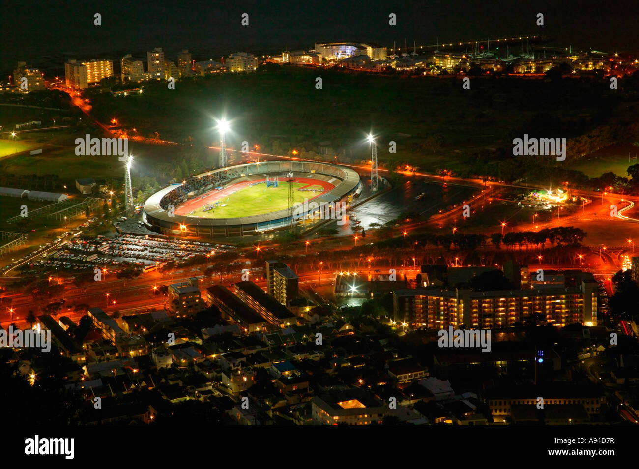 View of Greenpoint stadium from Signal Hill at night Cape Town Western Cape South Africa - Stock Image