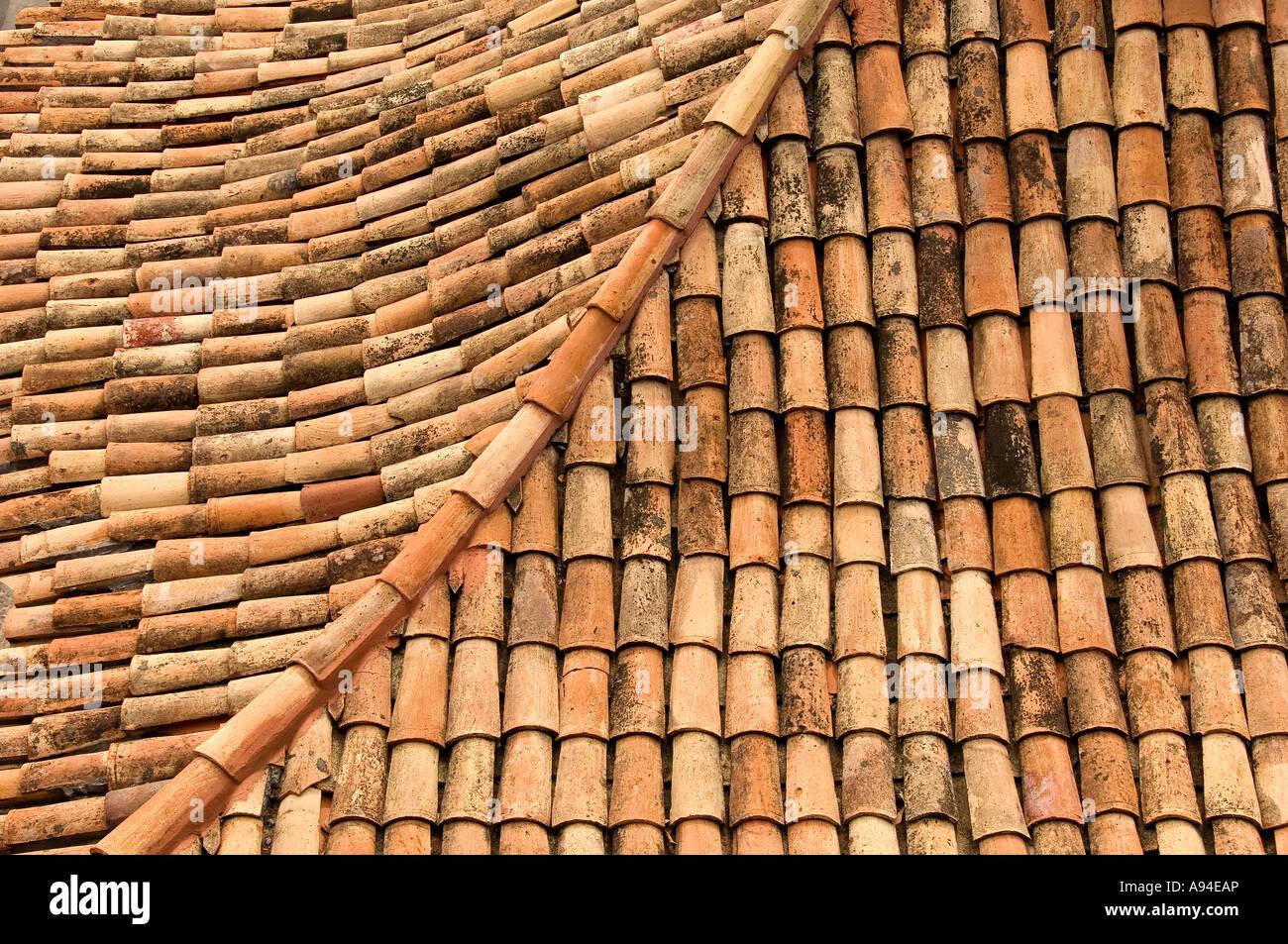 Terracotta roof tiles Funchal Madeira Portugal EU Europe