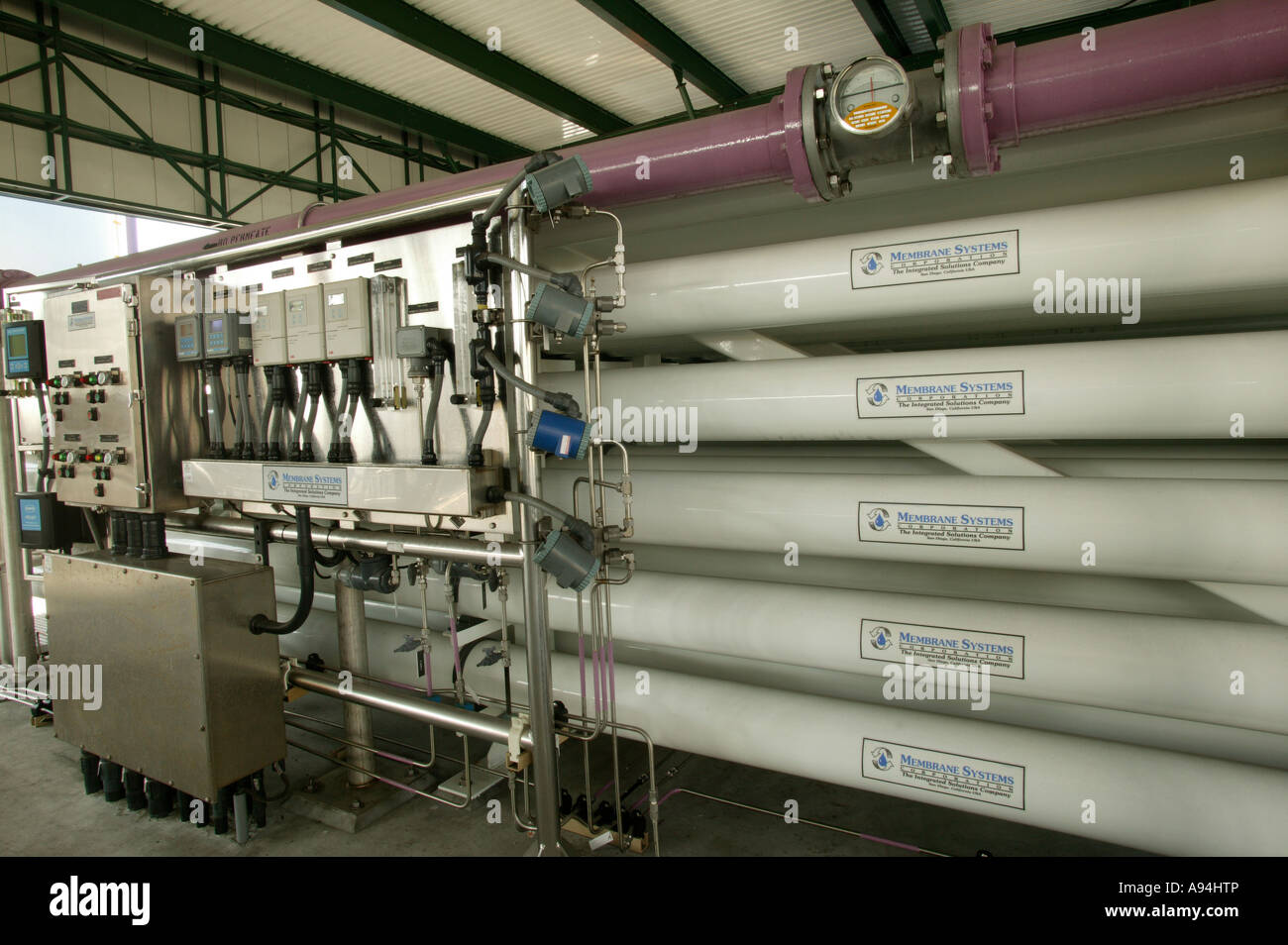 Reverse osmosis membrane units. - Stock Image