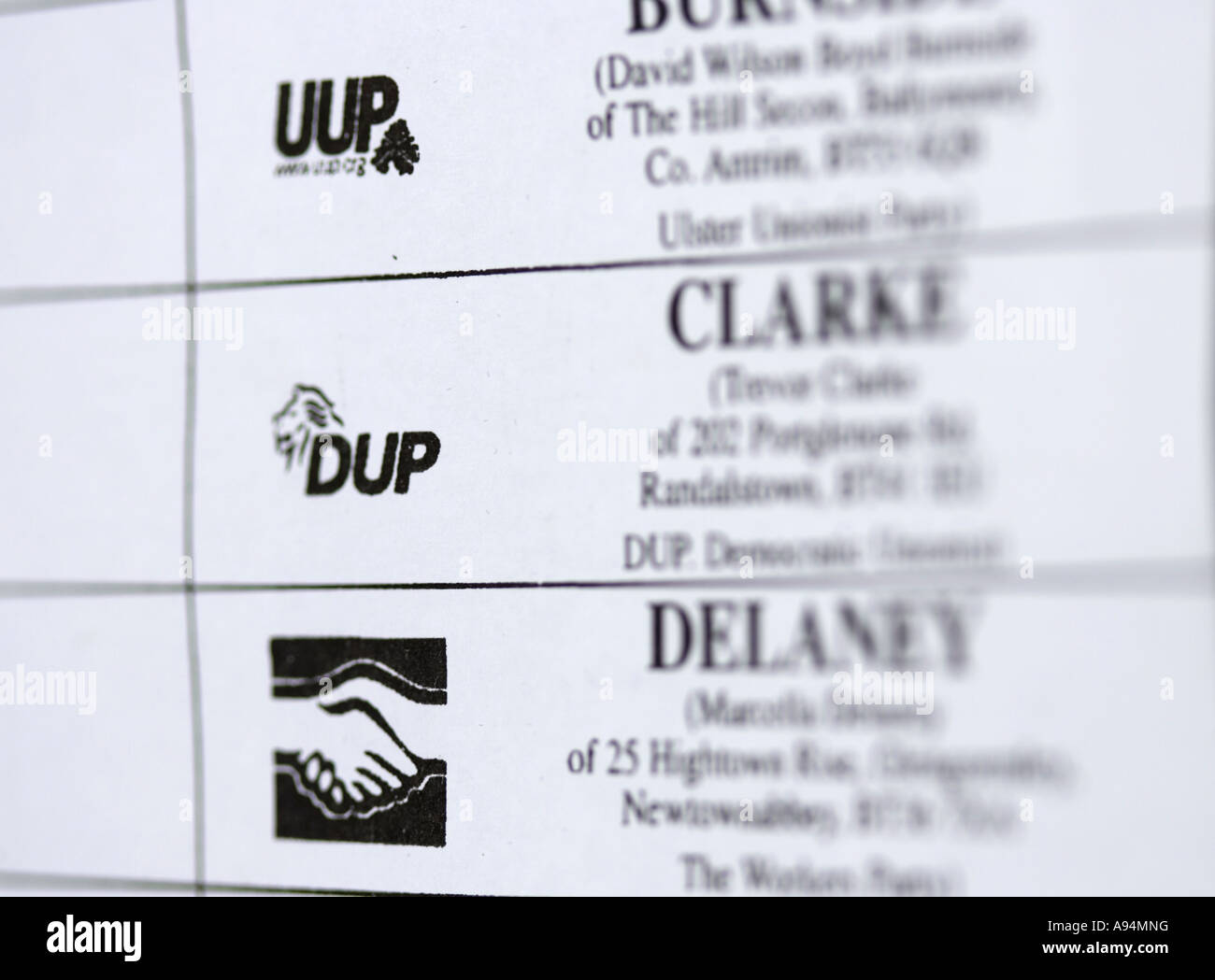 mock voting paper used as demonstration before northern ireland assembly elections 2007 showing dup uup and workers - Stock Image