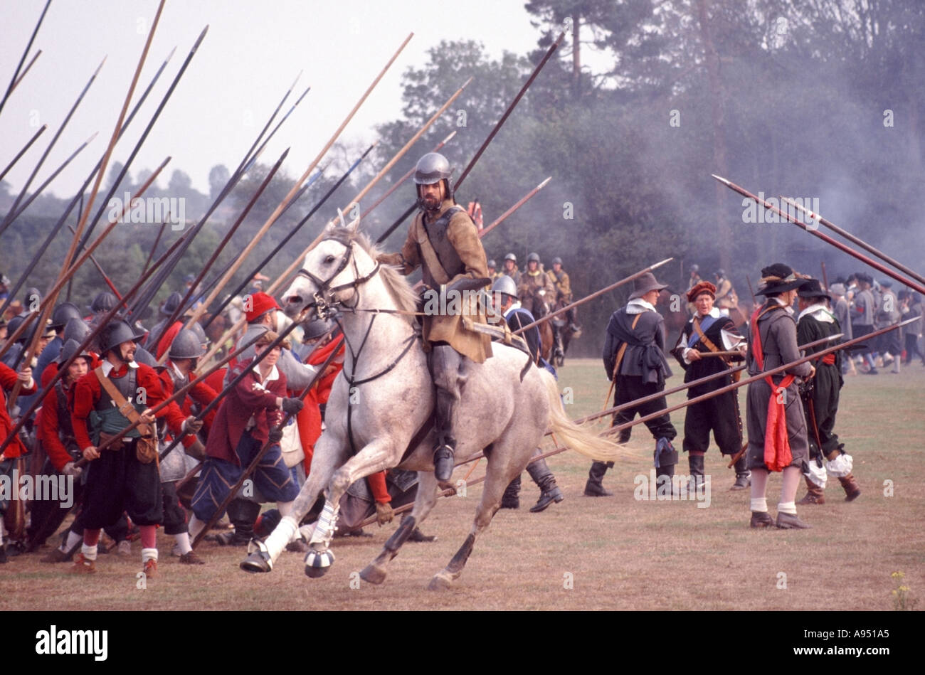 English Civil War historical battle reenactment by groups like Stock