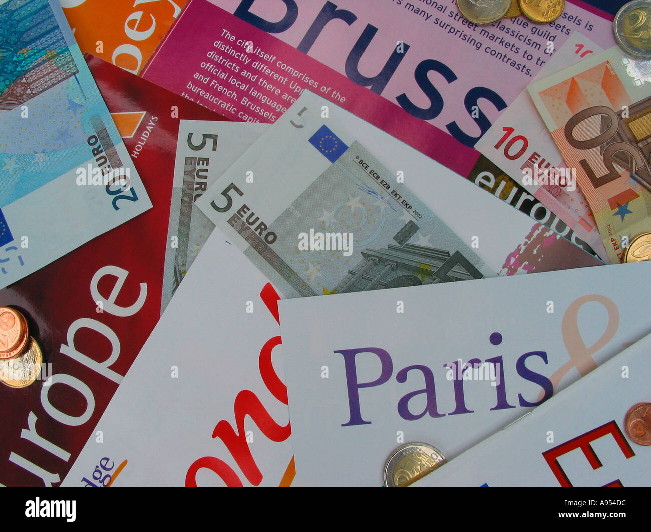 European Travel Destination Holiday Brochures and Catalogues Euro Currency - Stock Image