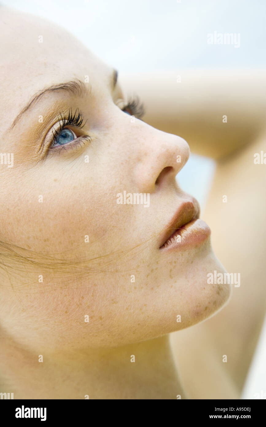 Woman, profile of face, close-up Stock Photo