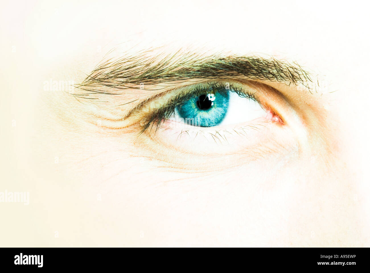 Young man's eye, extreme close-up - Stock Image
