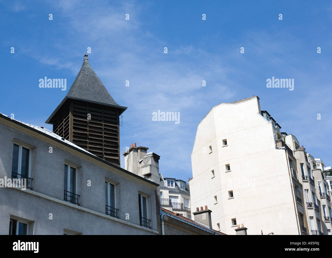 Turret and apartment buildings Stock Photo