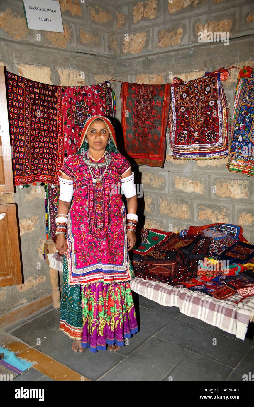 Artisan Inside Hut At Hiralaxmi Memorial Craft Park Bhujodi Village
