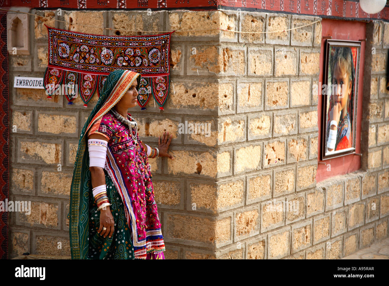 Artisan Outside Hut At Hiralaxmi Memorial Craft Park Bhujodi Stock
