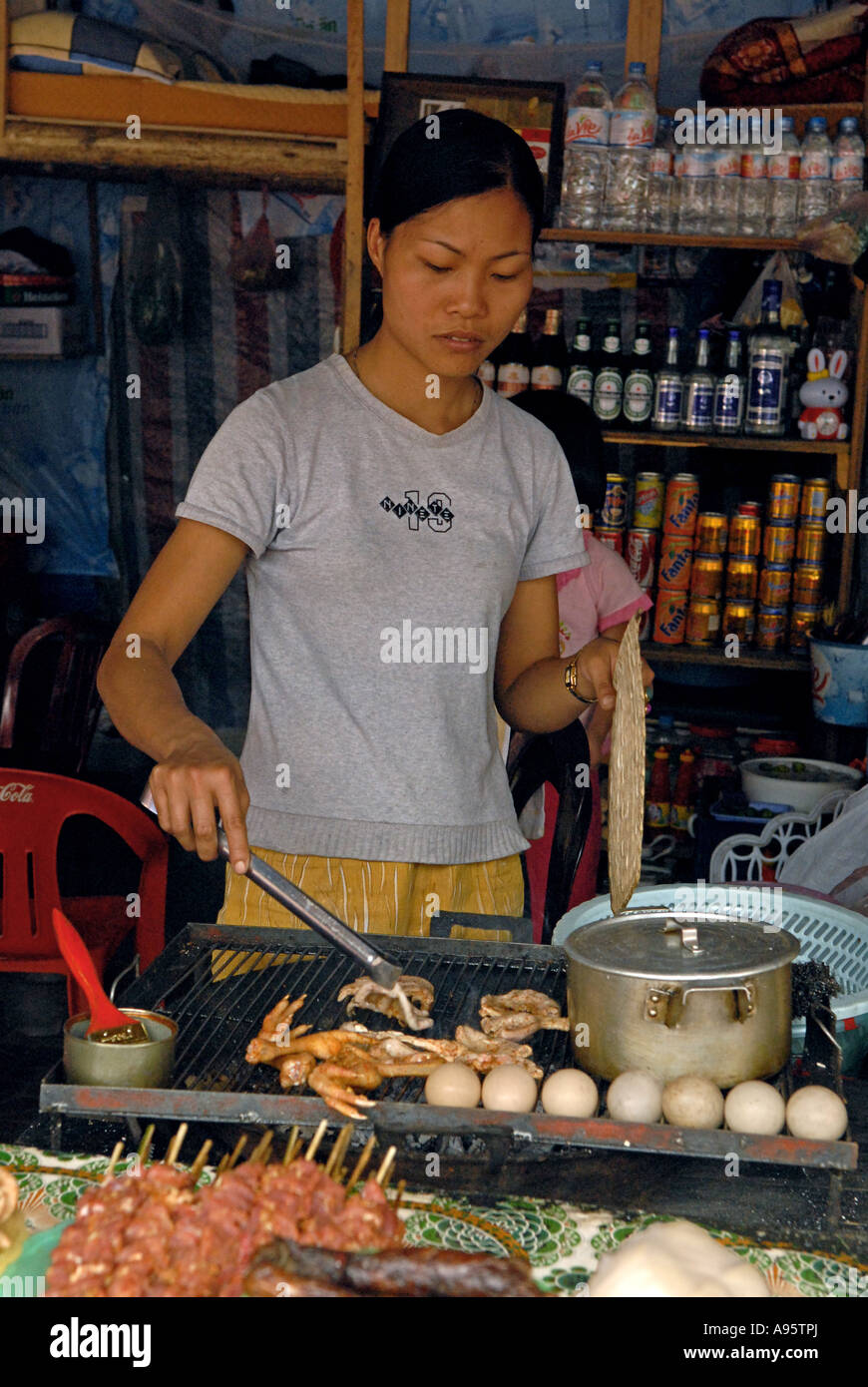 Town of Sapa Vietnam  Food vendor cooking Stock Photo
