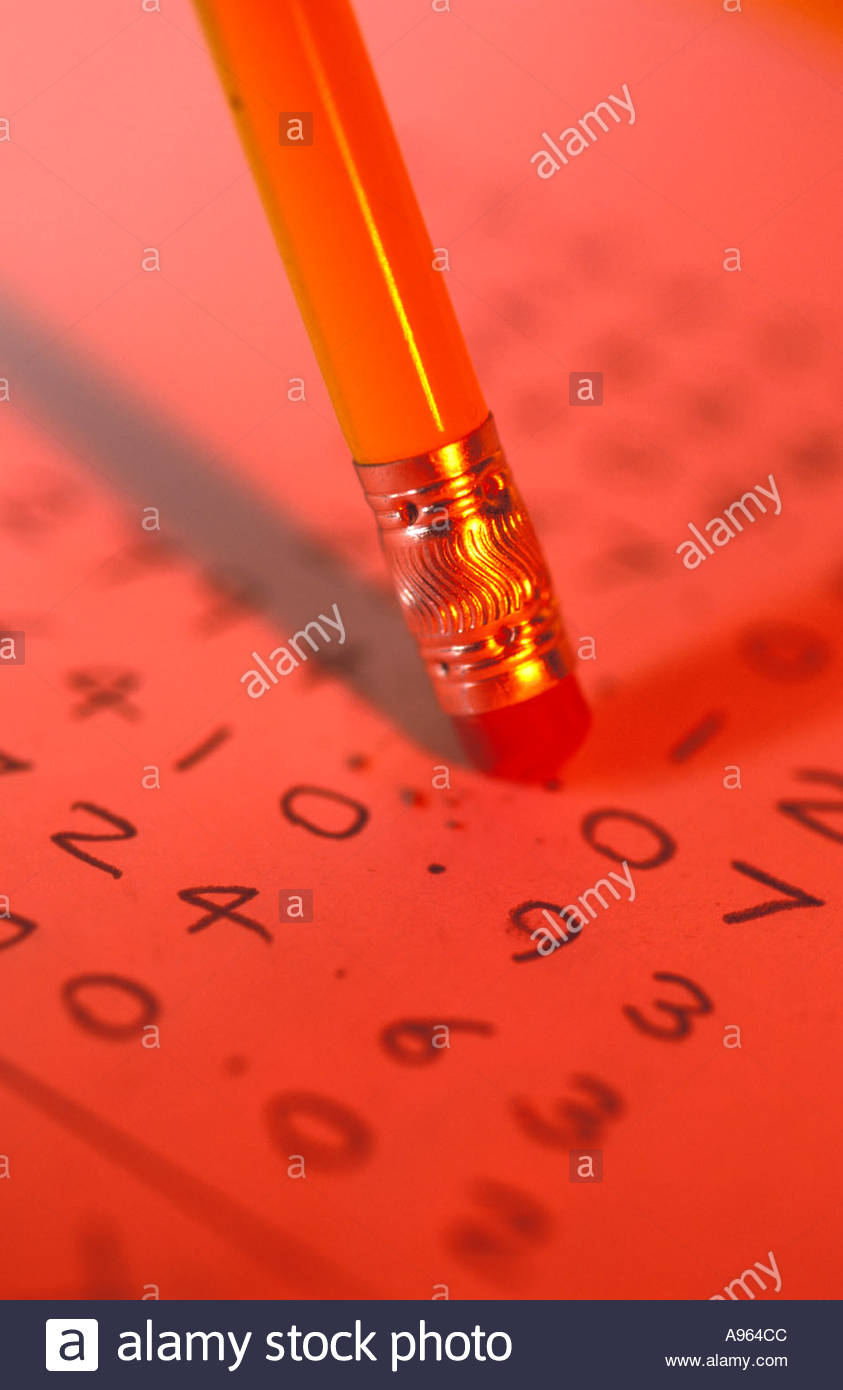 Rubber on end of pencil rubbing out mistake in column of figures Stock Photo