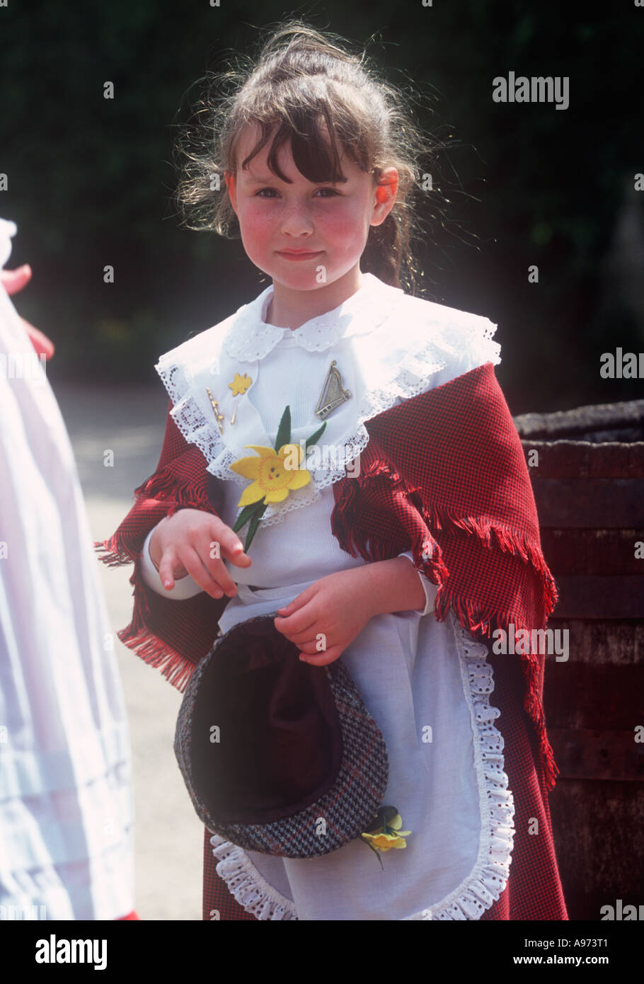 261587527 Young Girl in Traditional Welsh Costume Museum of Welsh Life St Fagans  Cardiff Suburbs South Wales