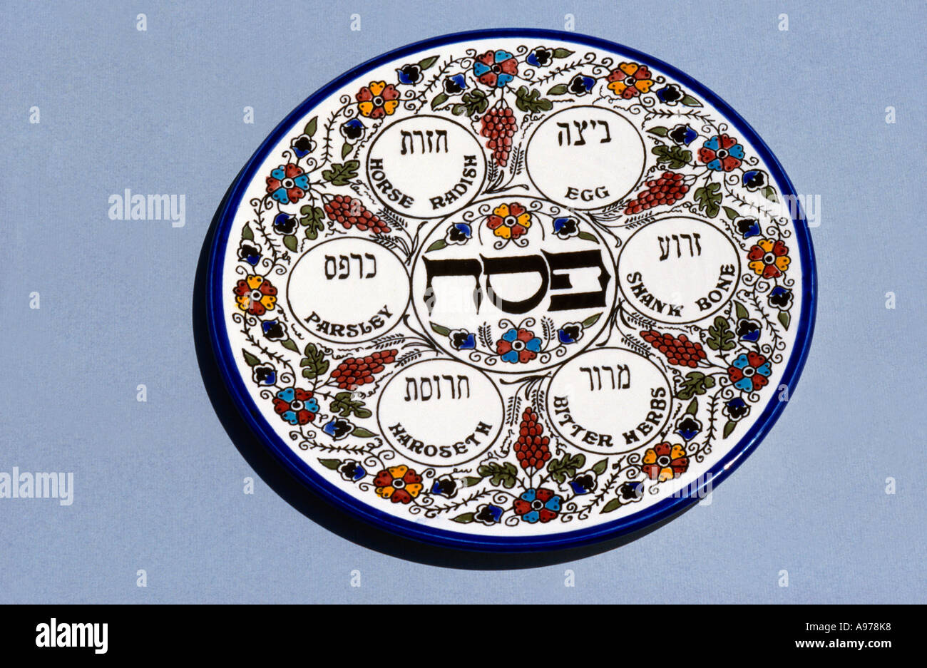 Seder Plate For Passover - Stock Image