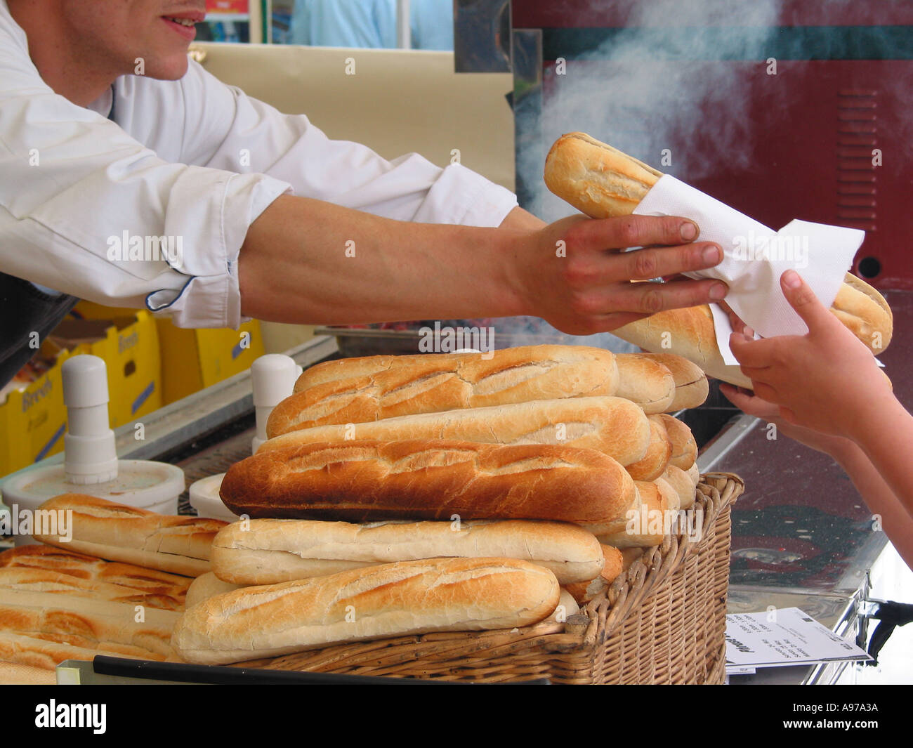 French Sausage and Baguette Stall Stock Photo
