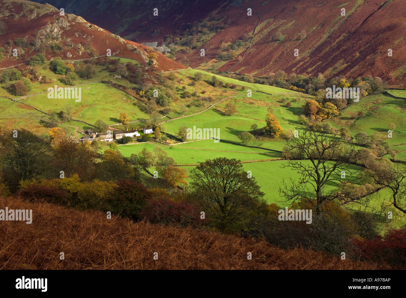 Beatrix Potter's Troutbeck Park Farm at the foot of The Tongue, Troutbeck Vale, Lake District, Cumbria, England, - Stock Image