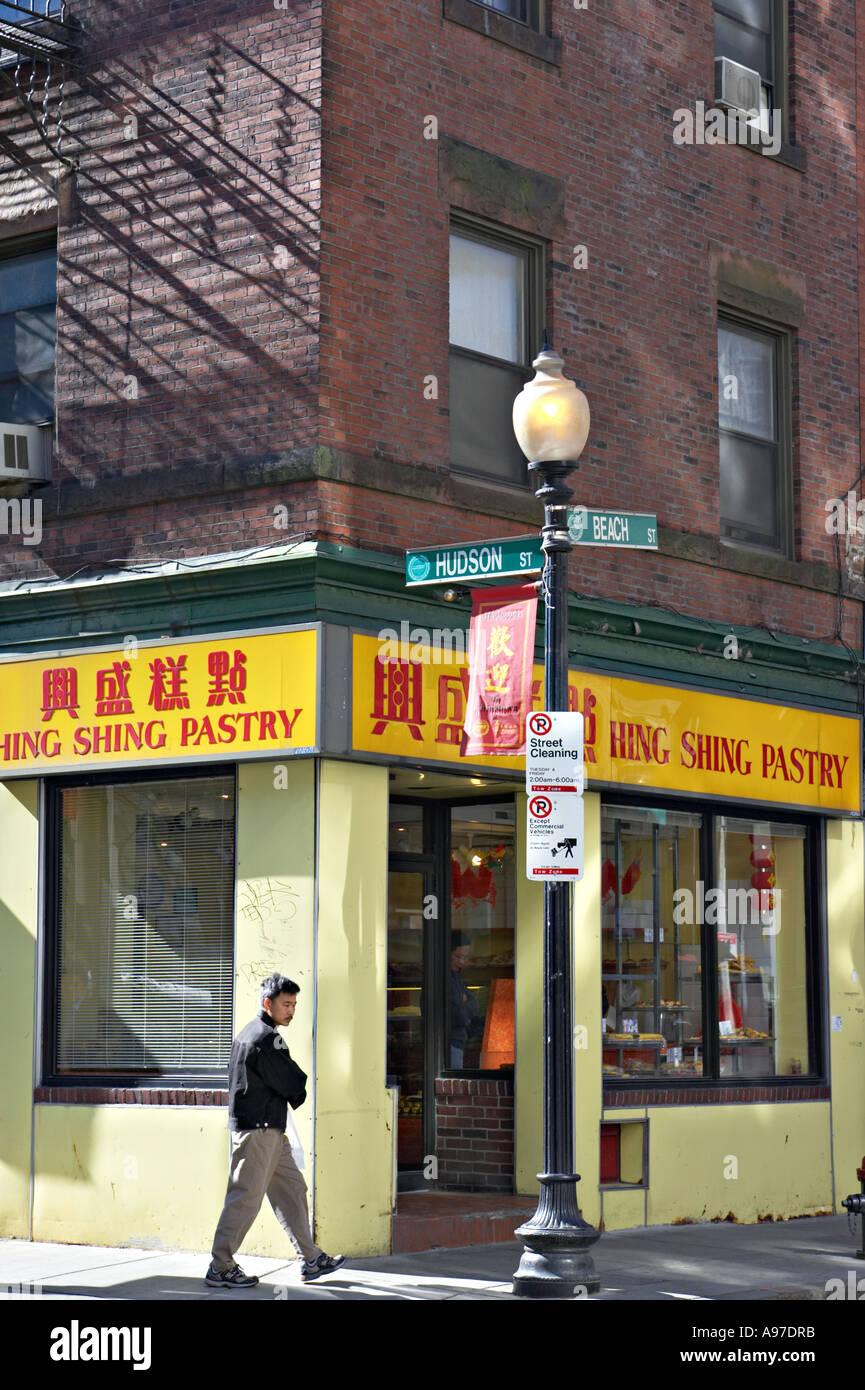 Massachusetts Boston People On Sidewalk Walk Past Restaurants And