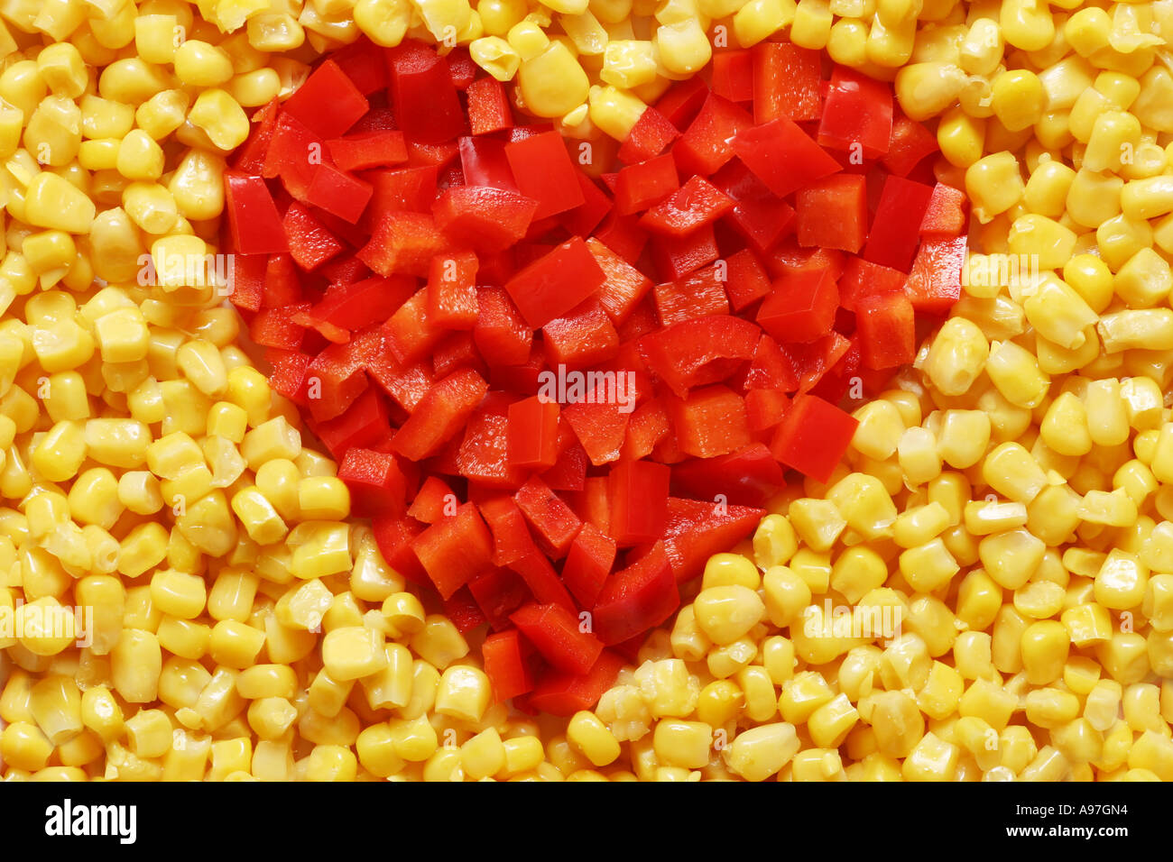 Pepper heart surrounded by corn. Could symbolise the love for vegetables or that vegetables are good for your heart or your body - Stock Image