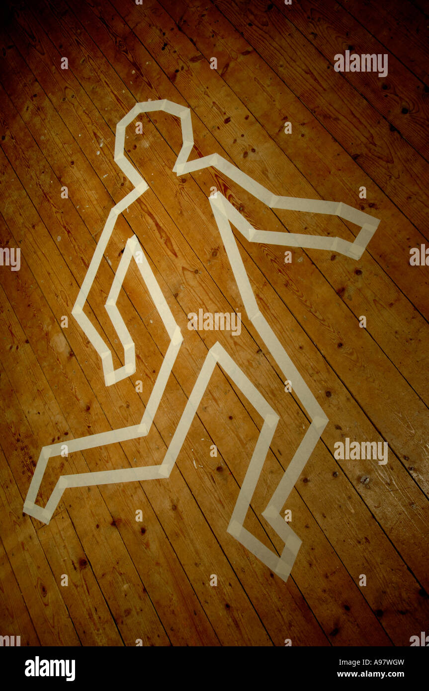 Masking tape outline of a person - Stock Image