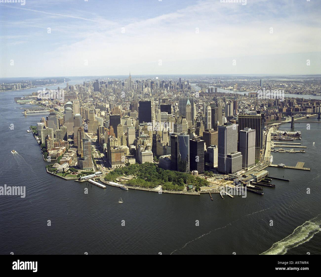 Manhatten New York: Aerial View Of Lower Manhattan, New York City, U.S.A
