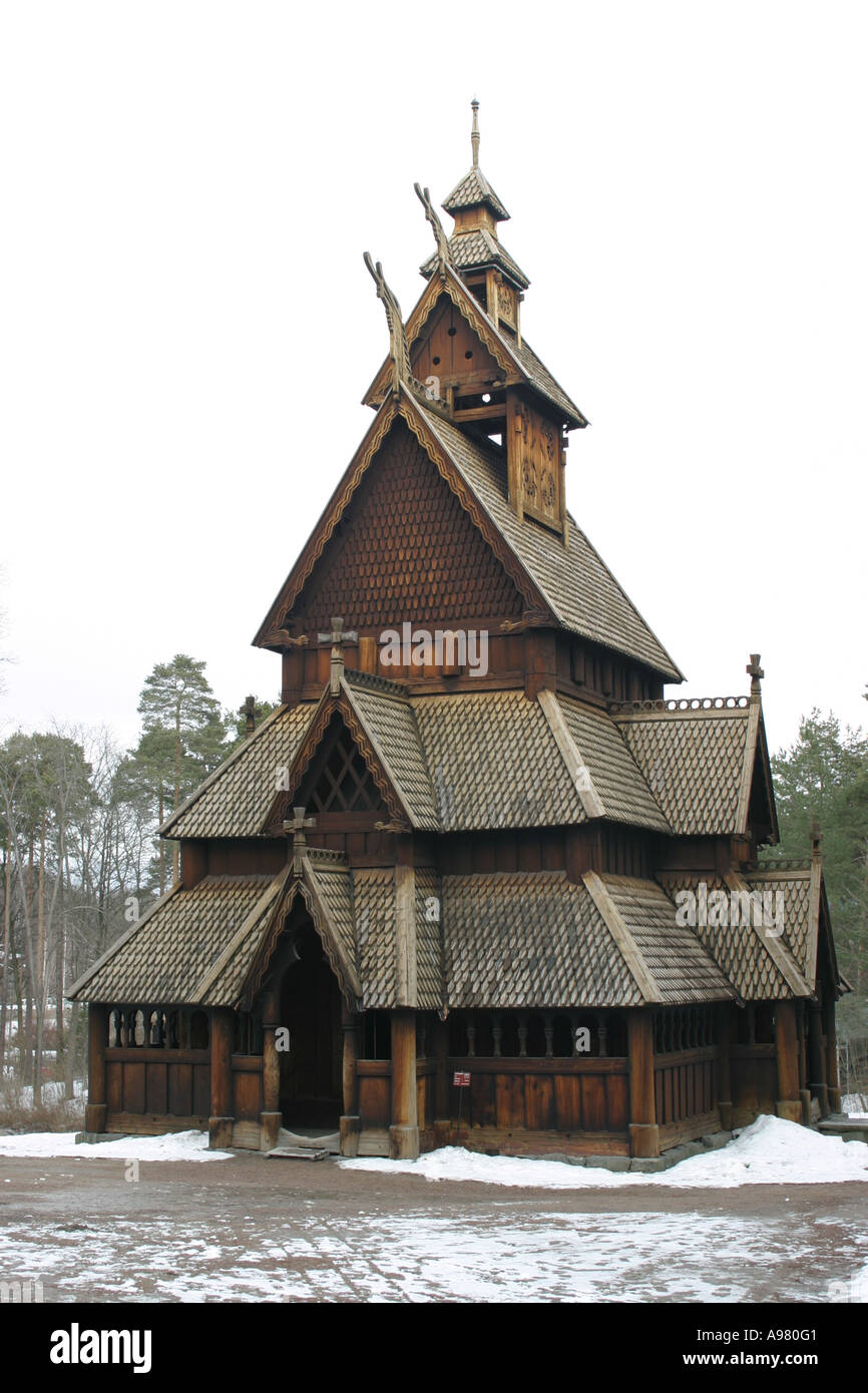 The restored Stave Church in Bygdoy Oslo. - Stock Image