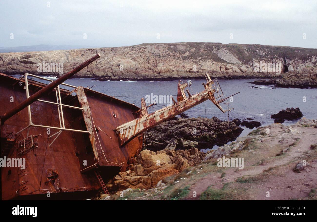 Shipwreck on the coast near La Coruna in northern Spain This coast is called costa de morte - Stock Image
