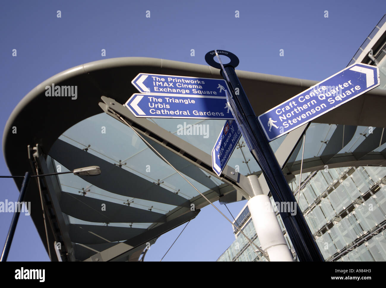 Signpost at the Shudehill interchange in the Northern Quarter Manchester UK - Stock Image