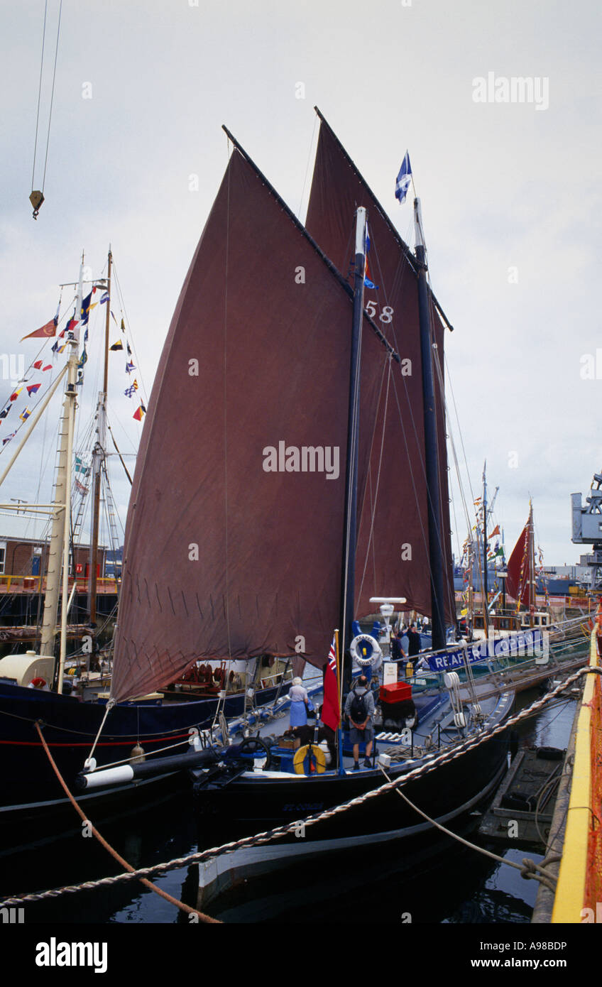 An Oyster Smack ship, Festival of the Sea, Portsmouth UK - Stock Image