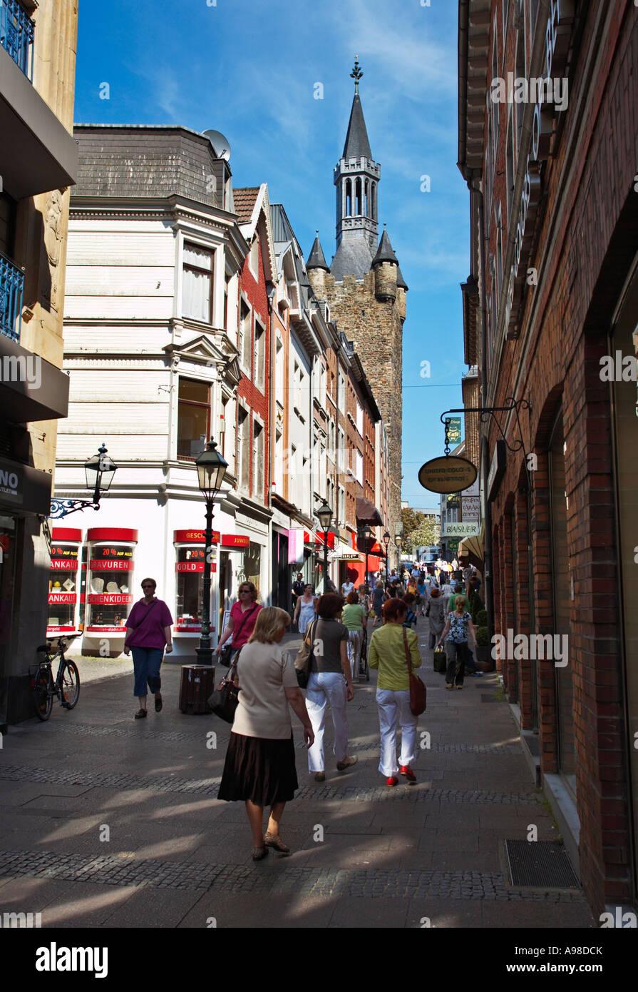 Shopping in Krämerstrasse, Aachen, Germany - Stock Image