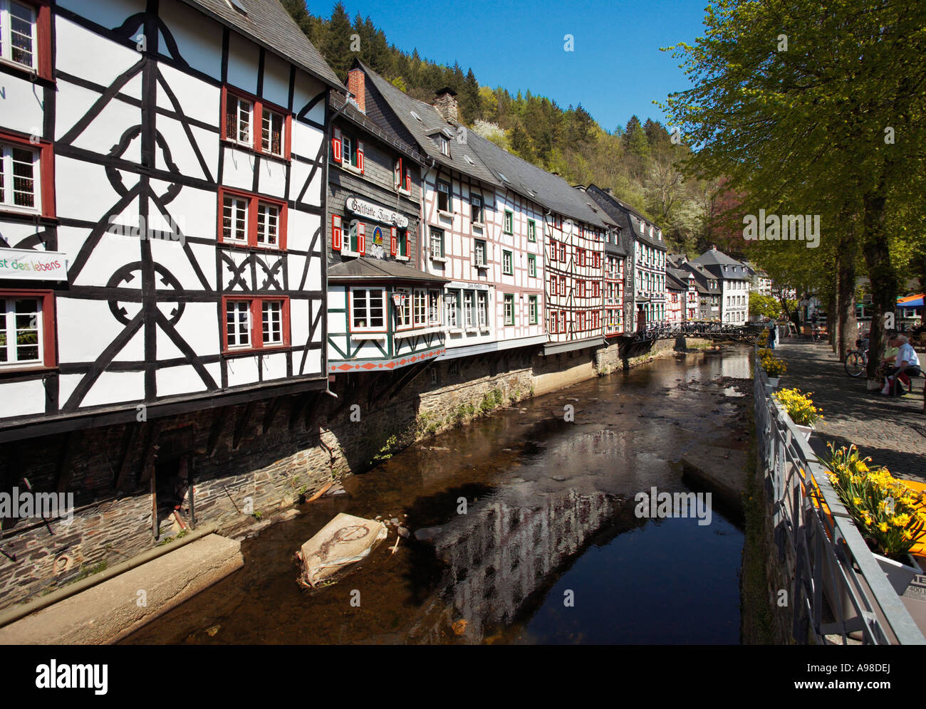 Half timbered houses on the Rur in Monschau in the Eifel Region Germany Europe - Stock Image