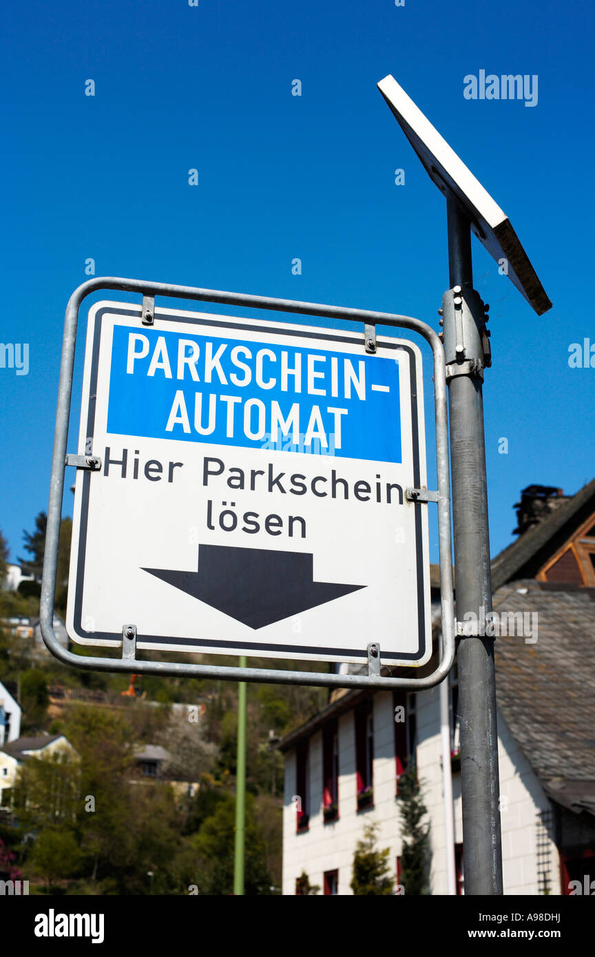 Solar powered Parking Meter sign Germany Europe - Stock Image