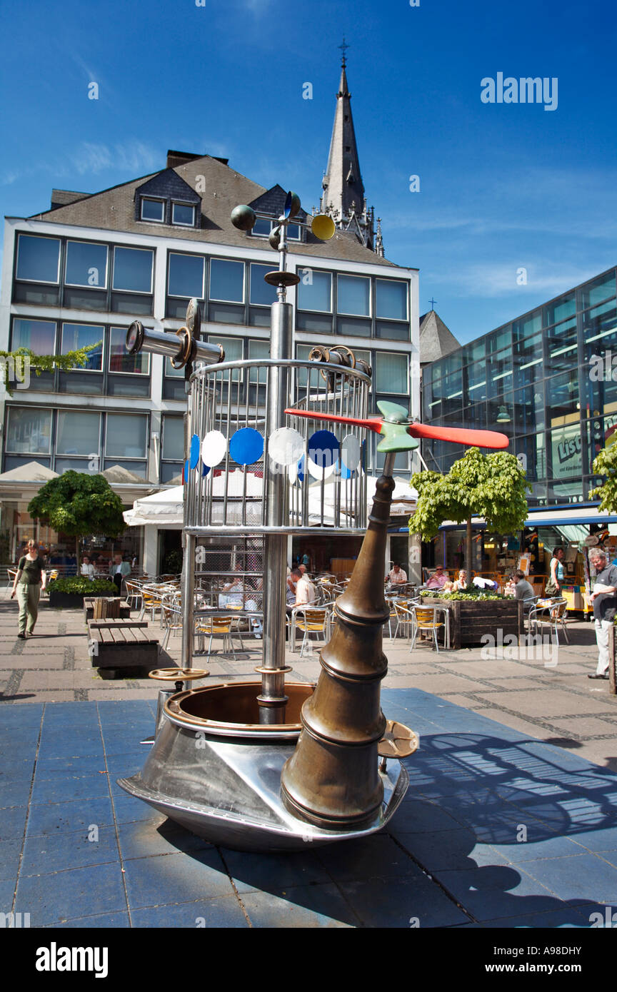 Unusual boat shaped metal climbing frame in a children's playground in Aachen city centre, Germany, Europe - Stock Image