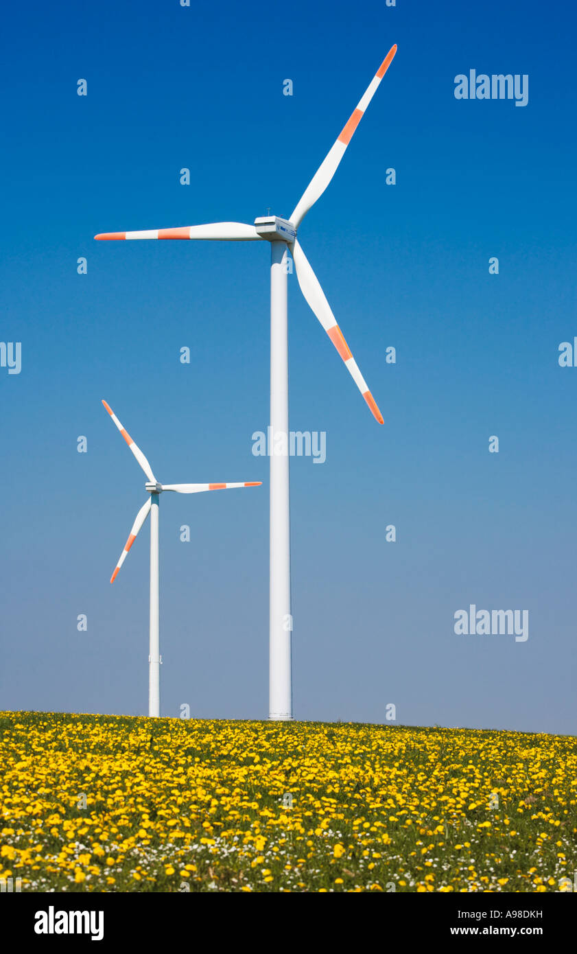 Windpark wind turbine Schleiden Schoneseiffen in the Deutsch Belgischer Naturpark,  Eifel region, Germany - Stock Image