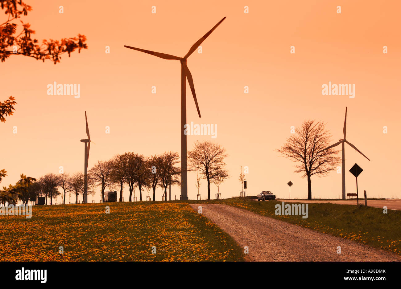Wind turbines on a windfarm or windpark in Schleiden Schoneseiffen, Eifel Region, Germany Europe - Stock Image