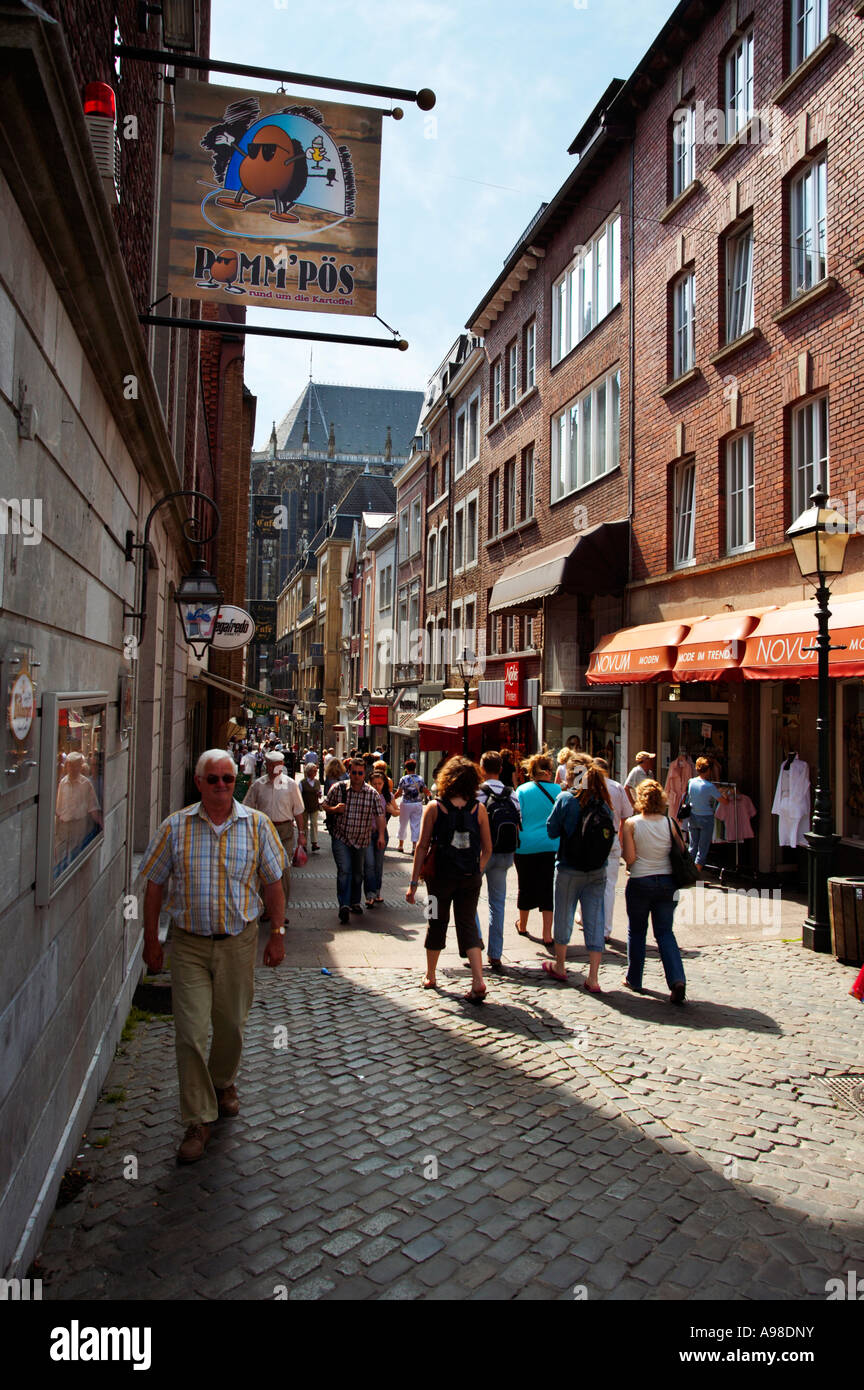Shopping in Krämerstrasse street, Aachen, Germany - Stock Image