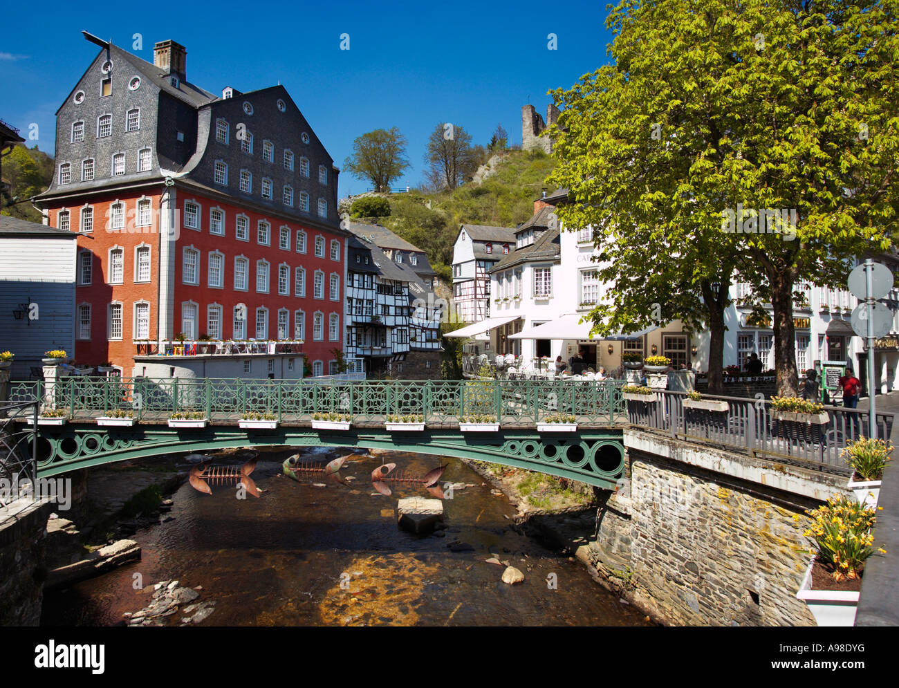 Rotes Haus on the River Rur at Monschau, Eifel Region, Germany - Stock Image