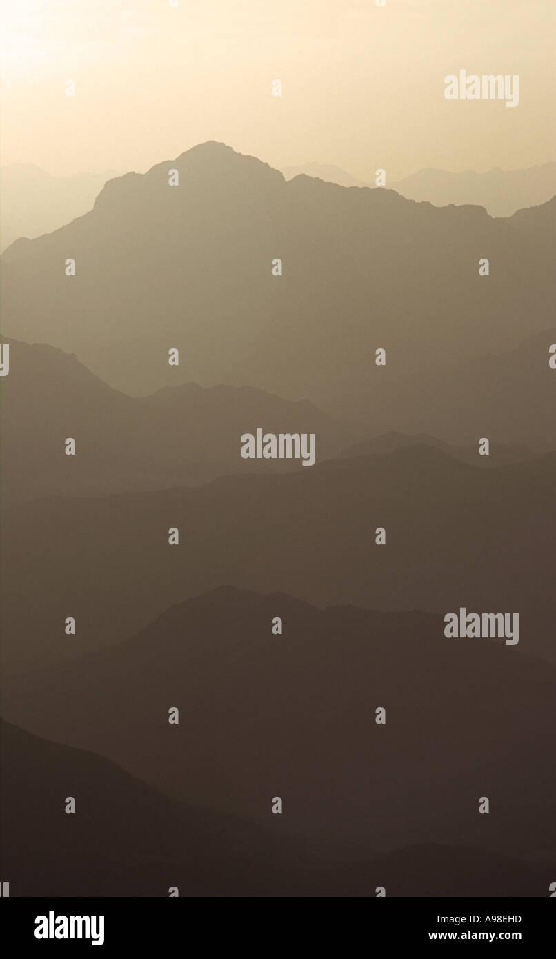 Sunrise in the Sinai desert viewed from the summit of Mount Sinai 'holy land' Sinai Egypt - Stock Image