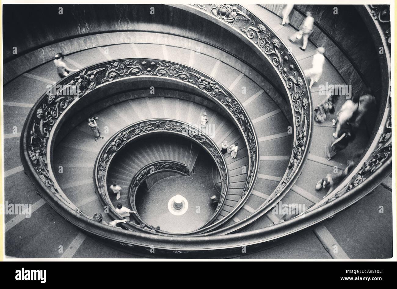 Spiral staircase in Black White - Stock Image