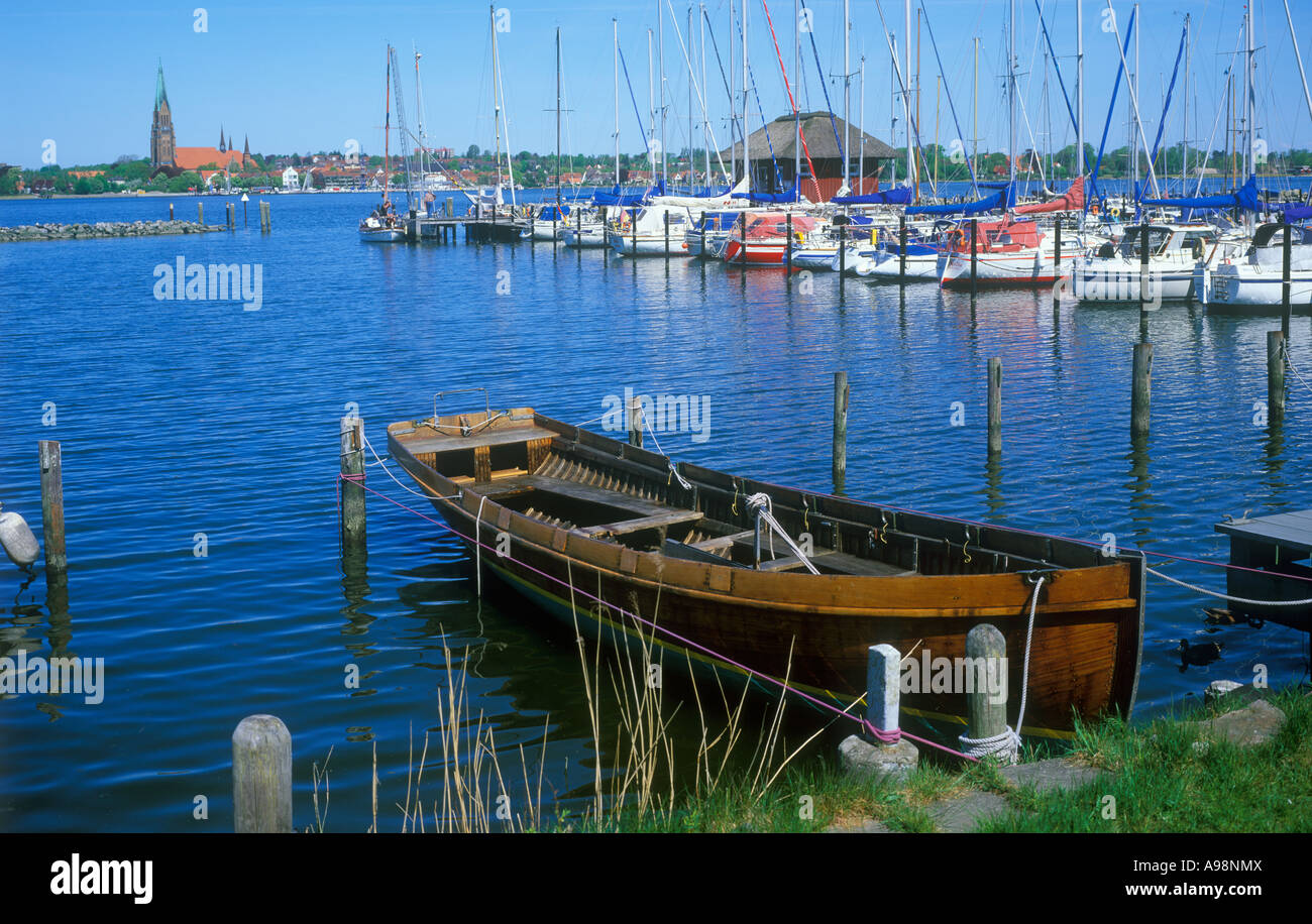 view of Schleswig at the Baltic Sea Fjord Schlei in Schleswig Holstein in Northern Germany from Haithabu - Stock Image