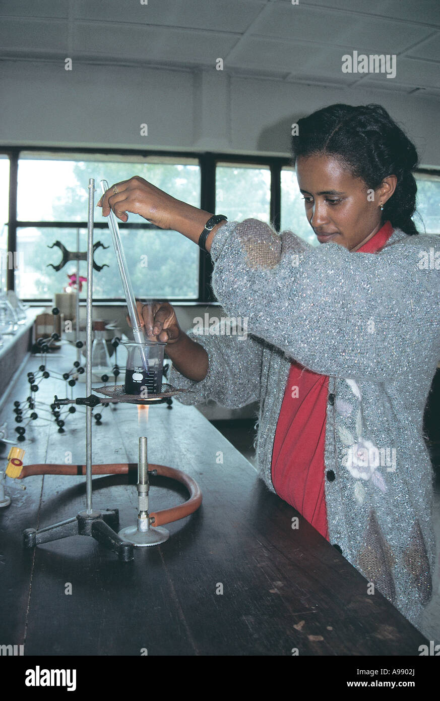 Woman Student in chemistry labs at University of Addis Ababa Ethiopia - Stock Image