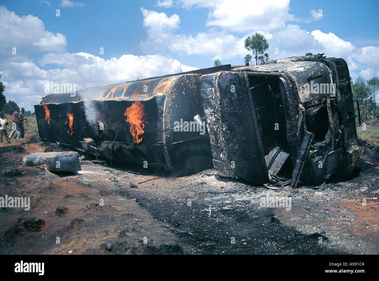 Wreck of Petrol tanker crashed and on fire Jimma Ethiopia - Stock Image