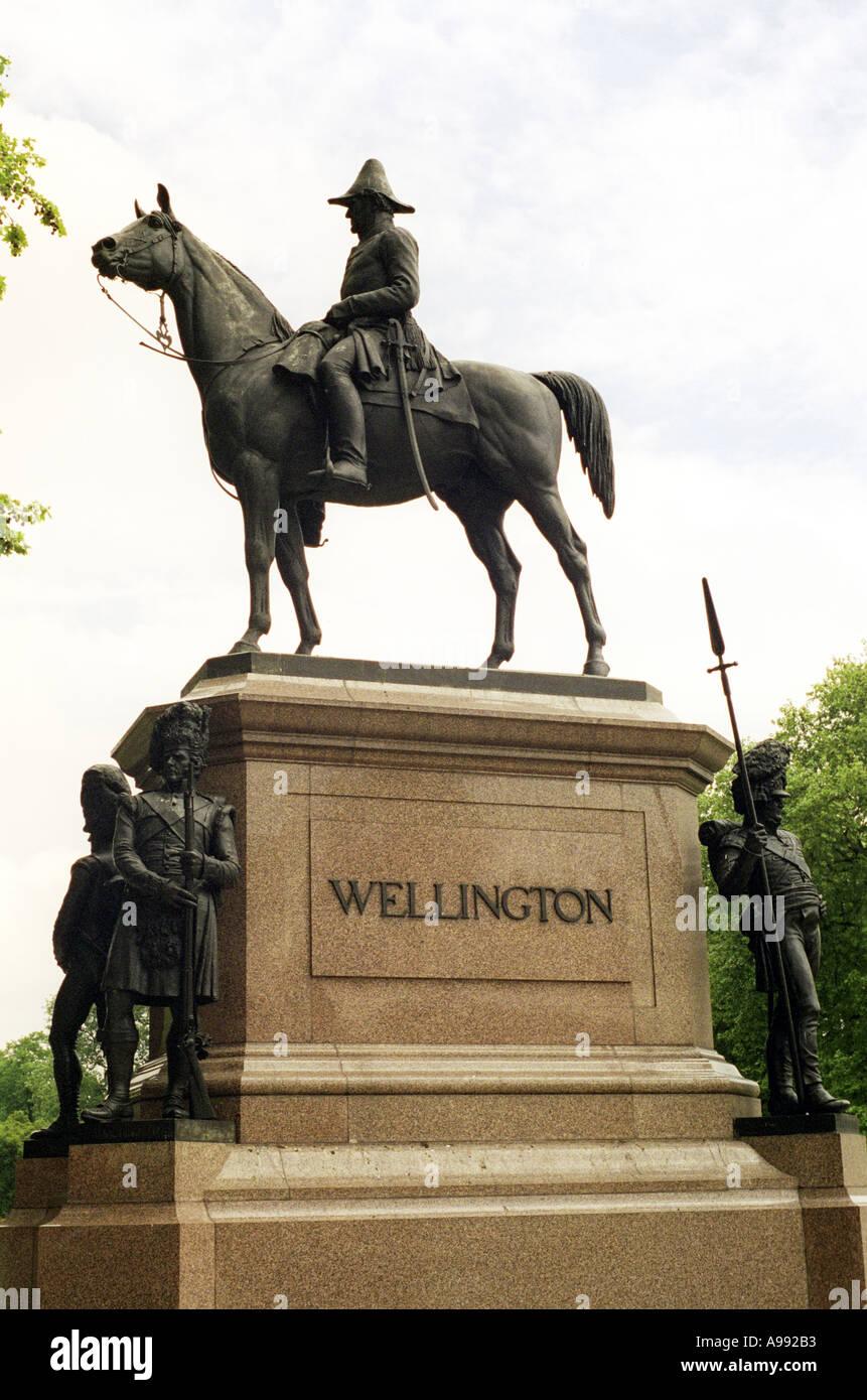 Statue of the Duke of Wellington opposite Apsley House London - Stock Image